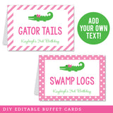 Pink Alligator Party Editable Buffet Cards (INSTANT DOWNLOAD)