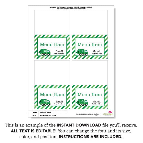 Garbage Truck Party Editable Buffet Cards (INSTANT DOWNLOAD)