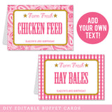 Pink Country Western Party Editable Buffet Cards (INSTANT DOWNLOAD)