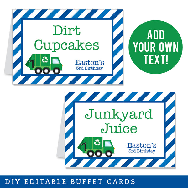 Blue Garbage Truck Party Editable Buffet Cards (INSTANT DOWNLOAD)