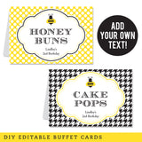 Bumblebee Party Editable Buffet Cards (INSTANT DOWNLOAD)