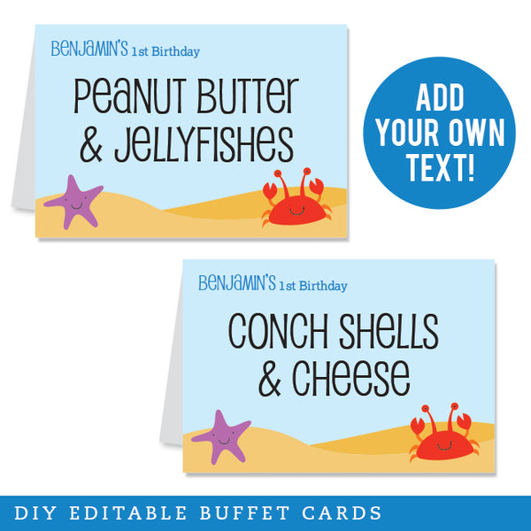 Under the Sea Party Editable Buffet Cards (INSTANT DOWNLOAD)