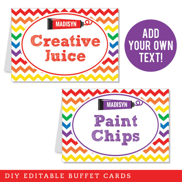 Art Party Editable Buffet Cards (INSTANT DOWNLOAD)