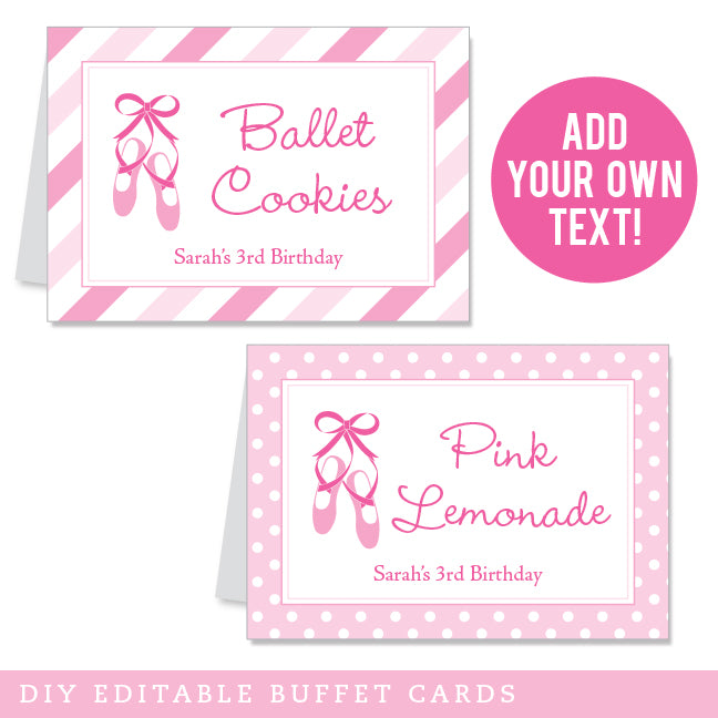 Ballet Party Editable Buffet Cards (INSTANT DOWNLOAD)