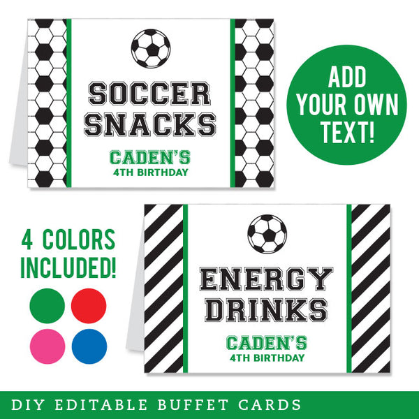Soccer Party Editable Buffet Cards (INSTANT DOWNLOAD) - 4 Colors Included