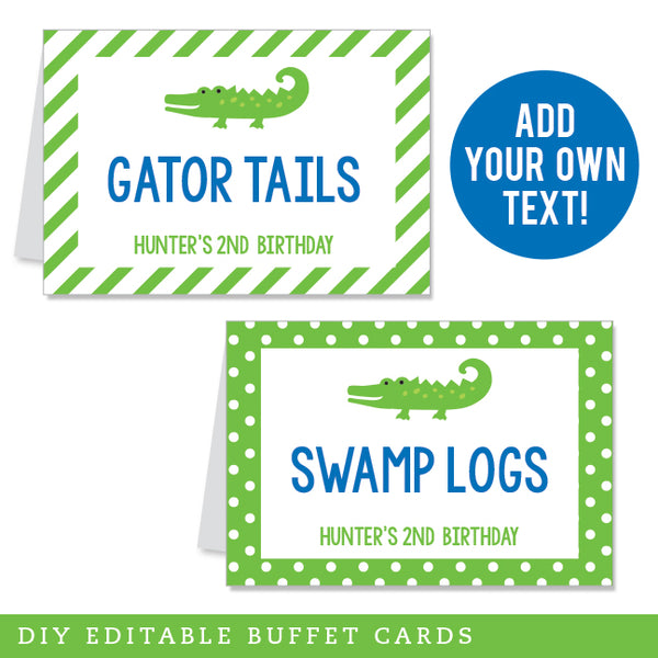 Alligator Party Editable Buffet Cards (INSTANT DOWNLOAD)