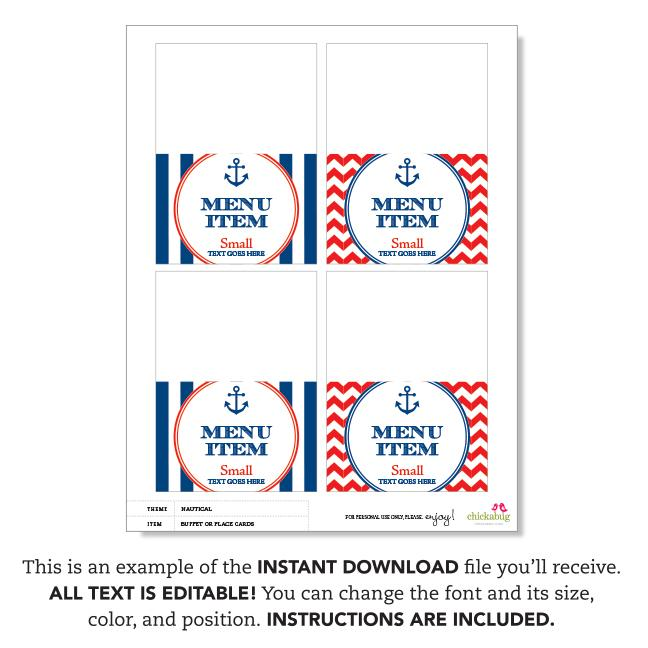 Nautical Party Editable Buffet Cards (INSTANT DOWNLOAD)