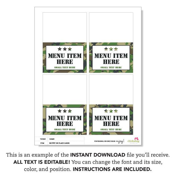 Army Party Editable Buffet Cards (INSTANT DOWNLOAD)
