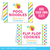 Pink Pool Party Editable Buffet Cards (INSTANT DOWNLOAD)