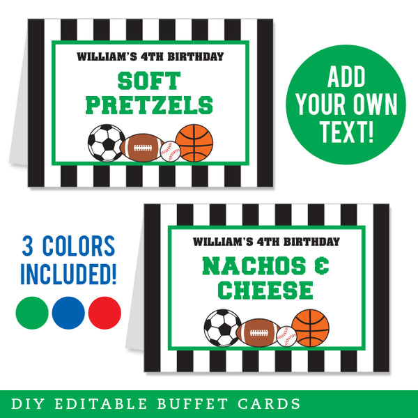 Sports Party Editable Buffet Cards (INSTANT DOWNLOAD)