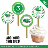 Garbage Truck Party Editable Cupcake Toppers (INSTANT DOWNLOAD)