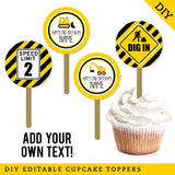 Construction Party Editable Cupcake Toppers (INSTANT DOWNLOAD)