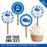 Blue Garbage Truck Party Editable Cupcake Toppers (INSTANT DOWNLOAD)