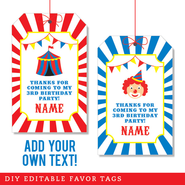 Carnival Party Editable Favor Tags (INSTANT DOWNLOAD)