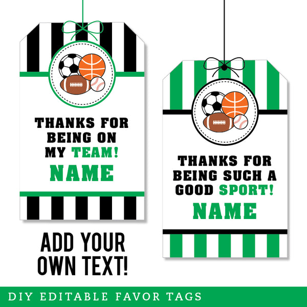 Green Sports Party Editable Favor Tags (INSTANT DOWNLOAD)