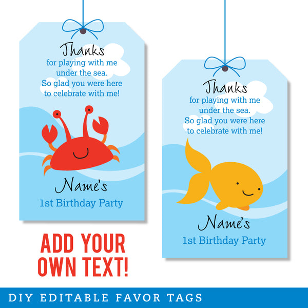 Under the Sea Party Editable Favor Tags (INSTANT DOWNLOAD)