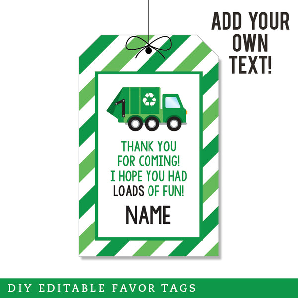 Garbage Truck Party Editable Favor Tags (INSTANT DOWNLOAD)