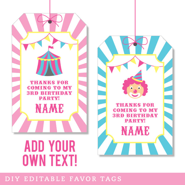 Pink Carnival Party Editable Favor Tags (INSTANT DOWNLOAD)