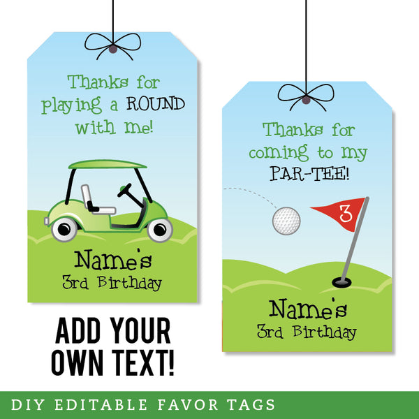 Golf Party Editable Favor Tags (INSTANT DOWNLOAD)