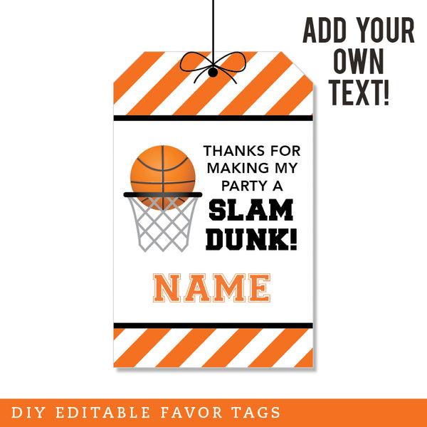 Basketball Party Editable Favor Tags (INSTANT DOWNLOAD)