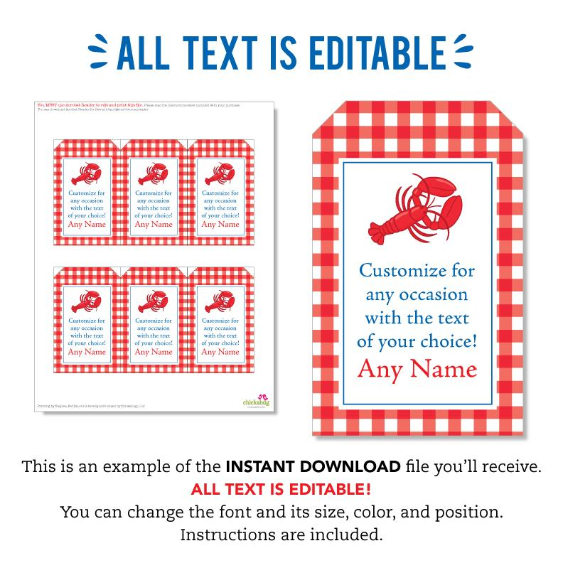 Lobster Party Editable Favor Tags (INSTANT DOWNLOAD)