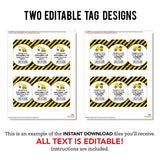 Construction Party Editable Favor Tags (INSTANT DOWNLOAD)