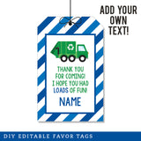 Blue Garbage Truck Party Editable Favor Tags (INSTANT DOWNLOAD)