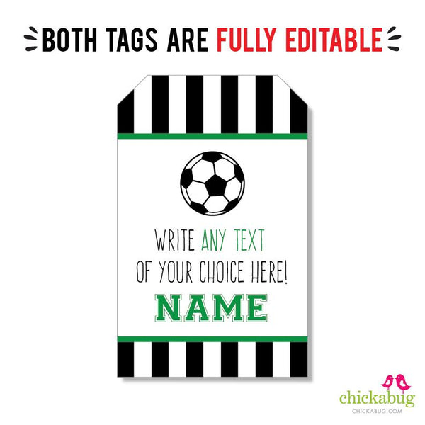 Soccer Party Editable Favor Tags (INSTANT DOWNLOAD)