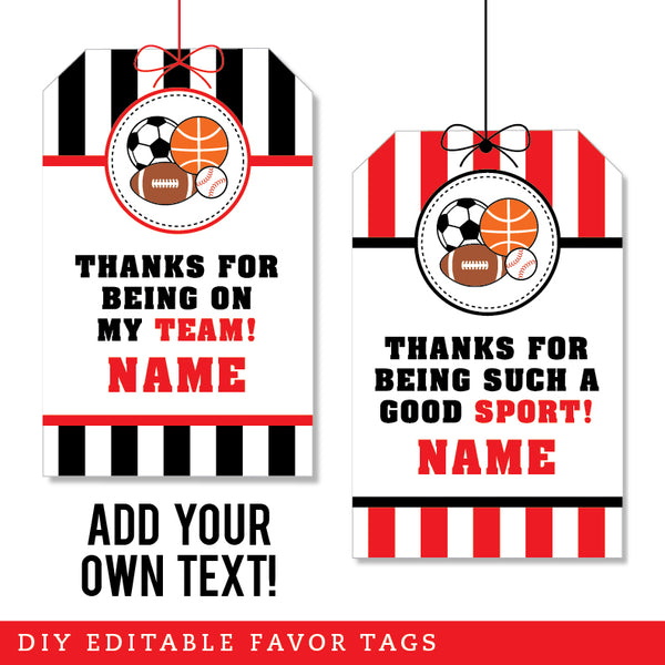 Red Sports Party Editable Favor Tags (INSTANT DOWNLOAD)