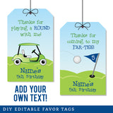 Navy Golf Party Editable Favor Tags (INSTANT DOWNLOAD)