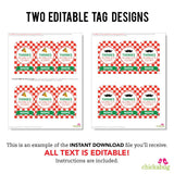 Pizza Party Editable Favor Tags with Mustache (INSTANT DOWNLOAD)