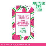 Watermelon Party Favor Tags (INSTANT DOWNLOAD)
