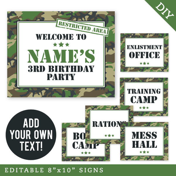Army Party Signs - Editable and Printable 8x10 Signs (INSTANT DOWNLOAD)