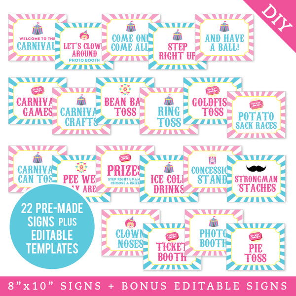 "Pink Carnival Party 8"" x 10"" Editable Party Signs (INSTANT DOWNLOAD)"