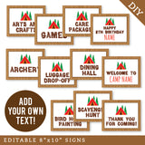 "Camping Party 8"" x 10"" Editable Party Signs (INSTANT DOWNLOAD)"