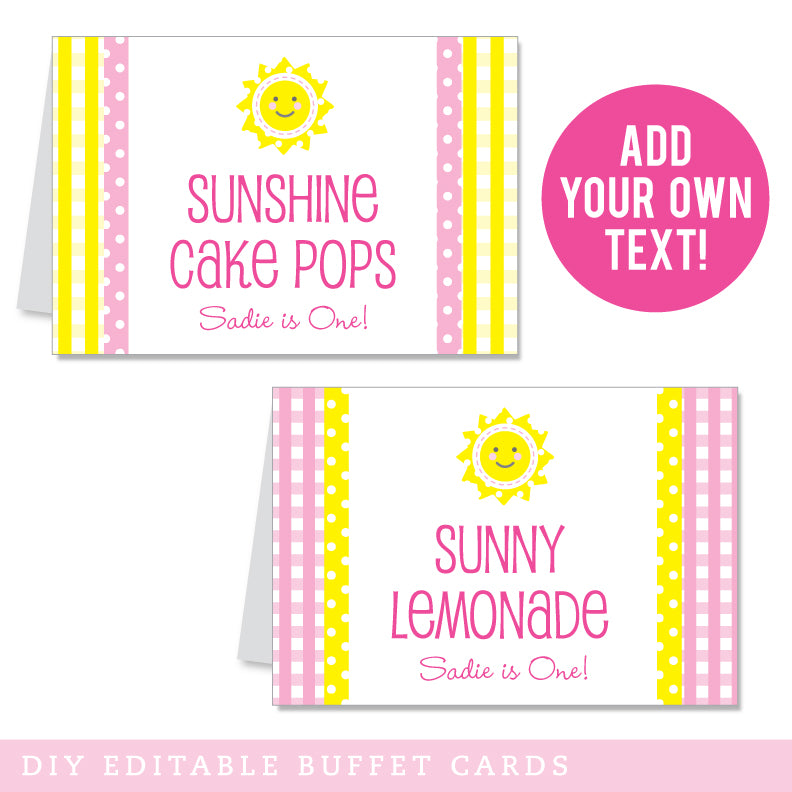 Sunshine Birthday Party Editable Buffet Cards (INSTANT DOWNLOAD)