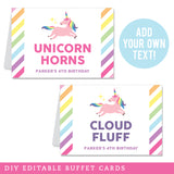 Unicorn Party Editable Buffet Cards (INSTANT DOWNLOAD)