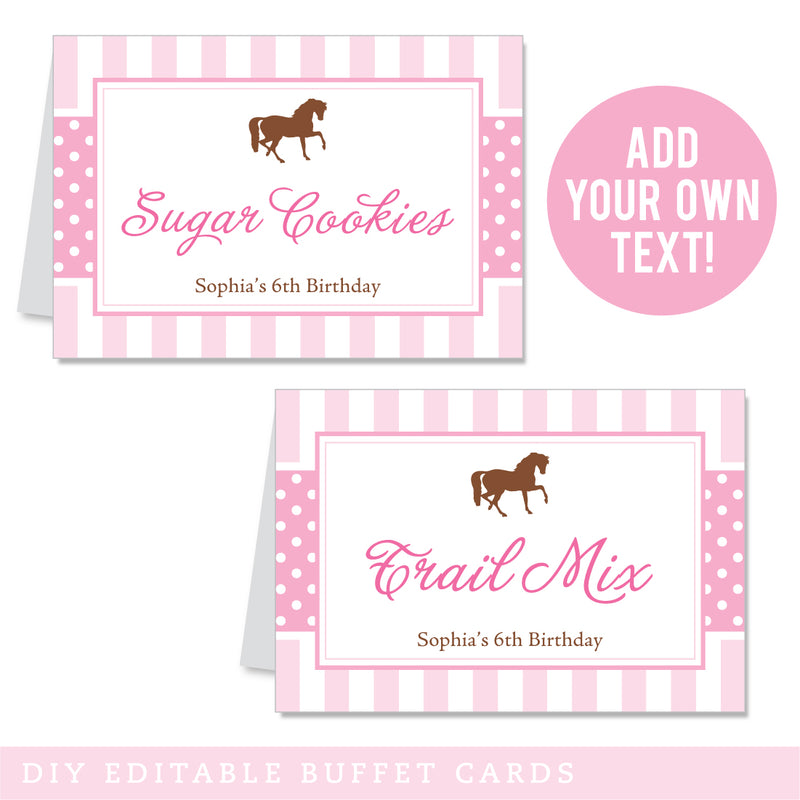 Pony Party Editable Buffet Cards (INSTANT DOWNLOAD)