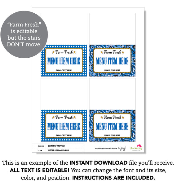 Blue Country Western Party Editable Buffet Cards (INSTANT DOWNLOAD)
