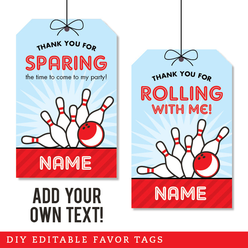 Bowling Party Editable Favor Tags (INSTANT DOWNLOAD)