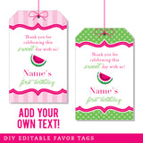 Pink Watermelon Party Editable Favor Tags (INSTANT DOWNLOAD)