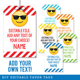 Sunglasses Emoji Editable Favor Tags (INSTANT DOWNLOAD)