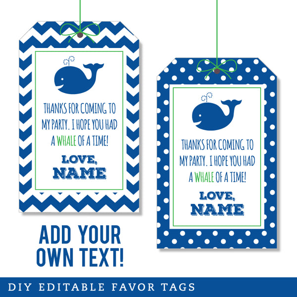 Whale Party Editable Favor Tags (INSTANT DOWNLOAD)