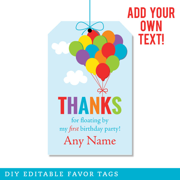 Birthday Balloons Editable Favor Tags (INSTANT DOWNLOAD)