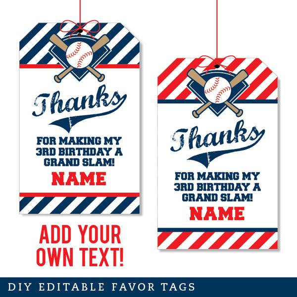 Baseball Party Editable Favor Tags (INSTANT DOWNLOAD)