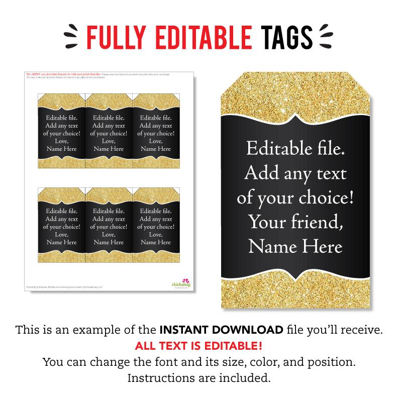 Gold and Black Editable Favor Tags (INSTANT DOWNLOAD)