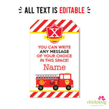 Fire Truck Party Editable Favor Tags (INSTANT DOWNLOAD)