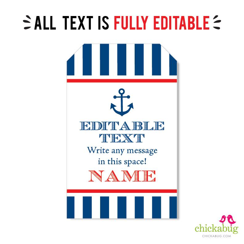 Nautical Party Editable Favor Tags (INSTANT DOWNLOAD)