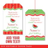Red Watermelon Party Editable Favor Tags (INSTANT DOWNLOAD)