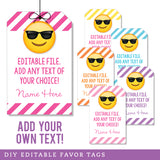 Sunglasses Emoji Editable Favor Tags (INSTANT DOWNLOAD) - Pink Variety